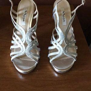 Silver glittery sandals